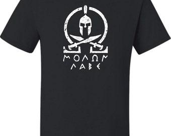 Adult Molon Labe Classic Greek Letters T-Shirt