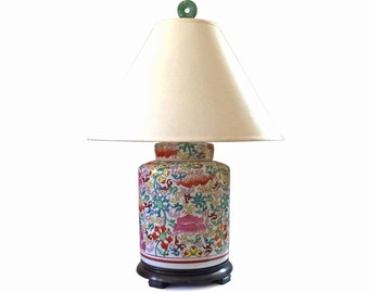 Vintage Chinoiserie Ginger Jar Ethan Allen Table Lamp with Jade Finial, Made in Japan
