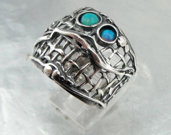 925 Silver opal  Ring, Handcrafted Sterling Silver Ring, Ring size 7,blue  Stone Ring, october birthstone, Gift for her (h 1143)