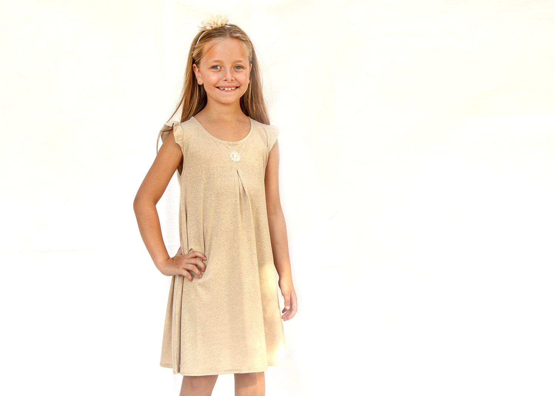Golden Girls drehen Kleid ärmellose Mädchen wirbeln Kleid