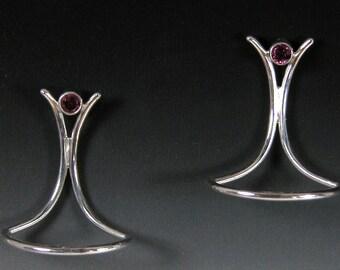 Sterling Silver Earrings with 3mm. Rhodolite Garnets Sterling Posts. ePA1