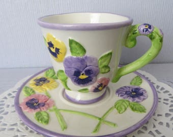 Teacup and Saucer Set, Hand Painted, Angela Reitter,Papel Giftware,Pretty as a Pansy,Purple,Pink,Yellow,Green