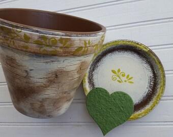 Décor de fleurs peint Pot - crème et marron - aspect rustique - décor de jardin - Boho
