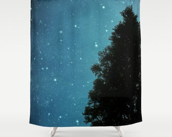 Fabric Shower Curtain - Star Light Star Bright - Tree Silhouette, Starry Sky, Photography, Nature, RDelean