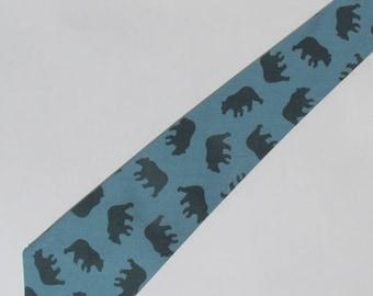 YOUTH Black Bear Wilderness Necktie Slate Gray with Free Gift Box, Student Tie, Kids Tie, Child's Tie