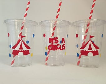 Circus Party Cups, Carnival Party Cups, Circus Birthday Party Cups, Carnival Birthday party Cups