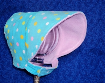 Winter Baby Bonnet Corduroy Turquoise and Pink