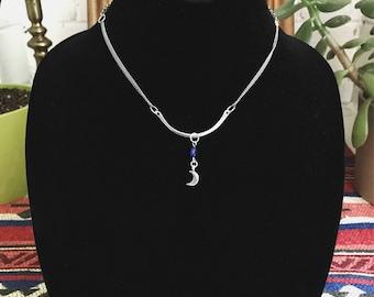 Silver Moon Bar Choker Necklace