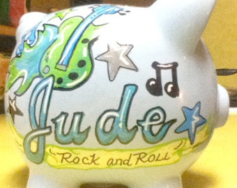 Personalized Piggy Bank Blue Rock And Roll Baby Handpainted Bank