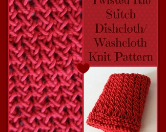 Knit PATTERN, Twisted Rib Stitch Dishcloth, Wash Cloth, Instant Download (KDCP-005)