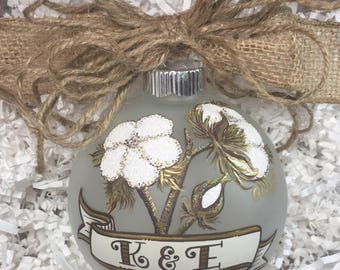 Cotton boll, Christmas Ornament, Handpainted Personalized, southern, monogram, farmhouse decor, Country style, Rustic decor, hearth and home