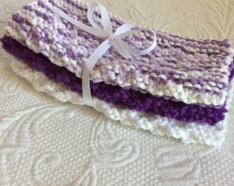 Set of 3 Handmade Knitted 100% Cotton Wash Cloths / Dish Cloths  Purple, White