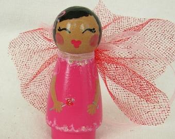 Hand Painted Love Boxes CUSTOM Christmas Valentine Birthday Fairy Pink Wood Peg Doll