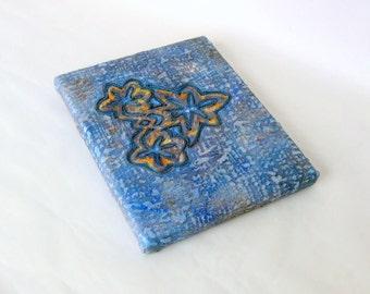 Original fiber art quilt textured canvas OOAK