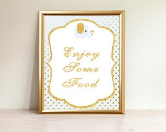 Elephant Blue, Enjoy Some Food sign, Boy Baby shower sign, Food sign, Food table sign, enjoy food, Printable Sign, Shower decorations, EP-01