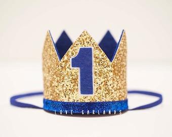 Blue Gold Birthday Crown, First Birthday Crown, One Birthday Crown, Blue Gold Birthday Crown, Blue Gold Birthday, Prince Birthday Crown