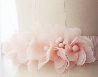 Handmade flower sash-- wedding sash--bridal sash