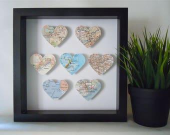 Heart Map Shadow Box - 7 or 8 Handmade Map Hearts - Custom Travel Gift - Framed Heart Maps - Black Shadow Box- Gallery Wall Art - 3D Maps
