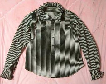 Vintage 70s Striped Button Up Shirt Blouse, Vintage Striped Button Up Shirt, Vintage Pinstriped Blouse Shirt, Vintage Striped Blouse
