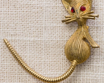 Vintage Cat Brooch Gold Kitty With Red Eyes Broach Flexible Tail Vtg Pin 7ii