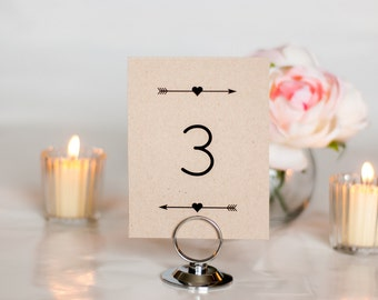 Rustic Arrow and Heart Wedding Table Number, 4x6, 5x7, Tented, Folded