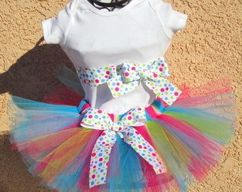 1st Birthday Dip N Dots Hot Pink, Turquoise, White, Green Tutu Set  Great for Birthdays, Photos & Props and Parties