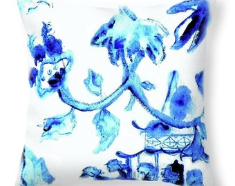 Chinoiserie Decor Pillow Pagoda Design Blue and White Pillow Decorative Throw Pillow Pretty Floral