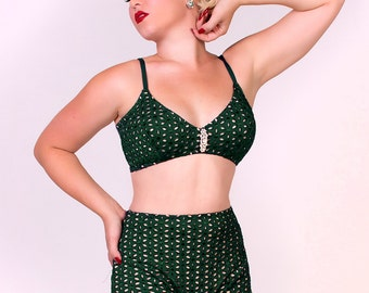 Forest Green Eyelet Illusion 2 Piece Swimsuit LIMITED EDITION