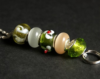 Badge Holder. Olive Green Lanyard. Badge Leash. Beaded Lanyard. Badge Lanyard. Id Lanyard. Handmade Badge Necklace. Lampwork Glass Lanyard.
