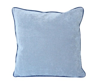 Grey Velevt Pillow with Black Piping