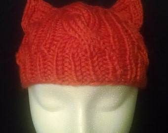 Cabled Cat  ear hat