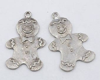 2pcs Christmas Jewelry Making Ginger Bread Man Tibetan Style Alloy Antique Silver Pendants,42x26x3mm, Hole: 2mm