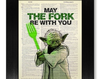 Star Wars Fork Art, Funny KITCHEN ART Print, Star Wars Art, Retro Kitchen Art, Star Wars Poster, YODA Funny Quote Print, Dinning Room Decor