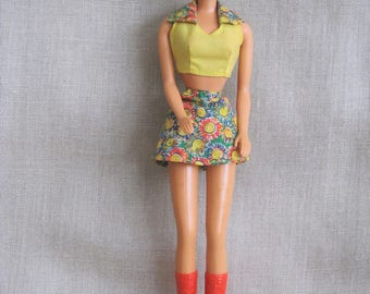 Vintage Barbie Doll, Female, Dressed, Clothing, Skirt, Shirt, Red Boots, Mattel Toys, 1966, Girl, Mid-Century, Collectibles, Barbie Brand