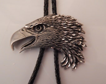 Pewter Eagle Slider  with Black Leather Bolo Tie