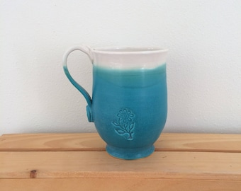 Turquoise Flower Pottery Mug, Handmade Pottery Mug, Flower Mug, Mug for Gardener, Mug For Her, Ready to Ship, in Stock