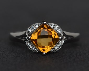 citrine ring yellow citrine engagement ring anniversary ring silver yellow crystal cushion cut