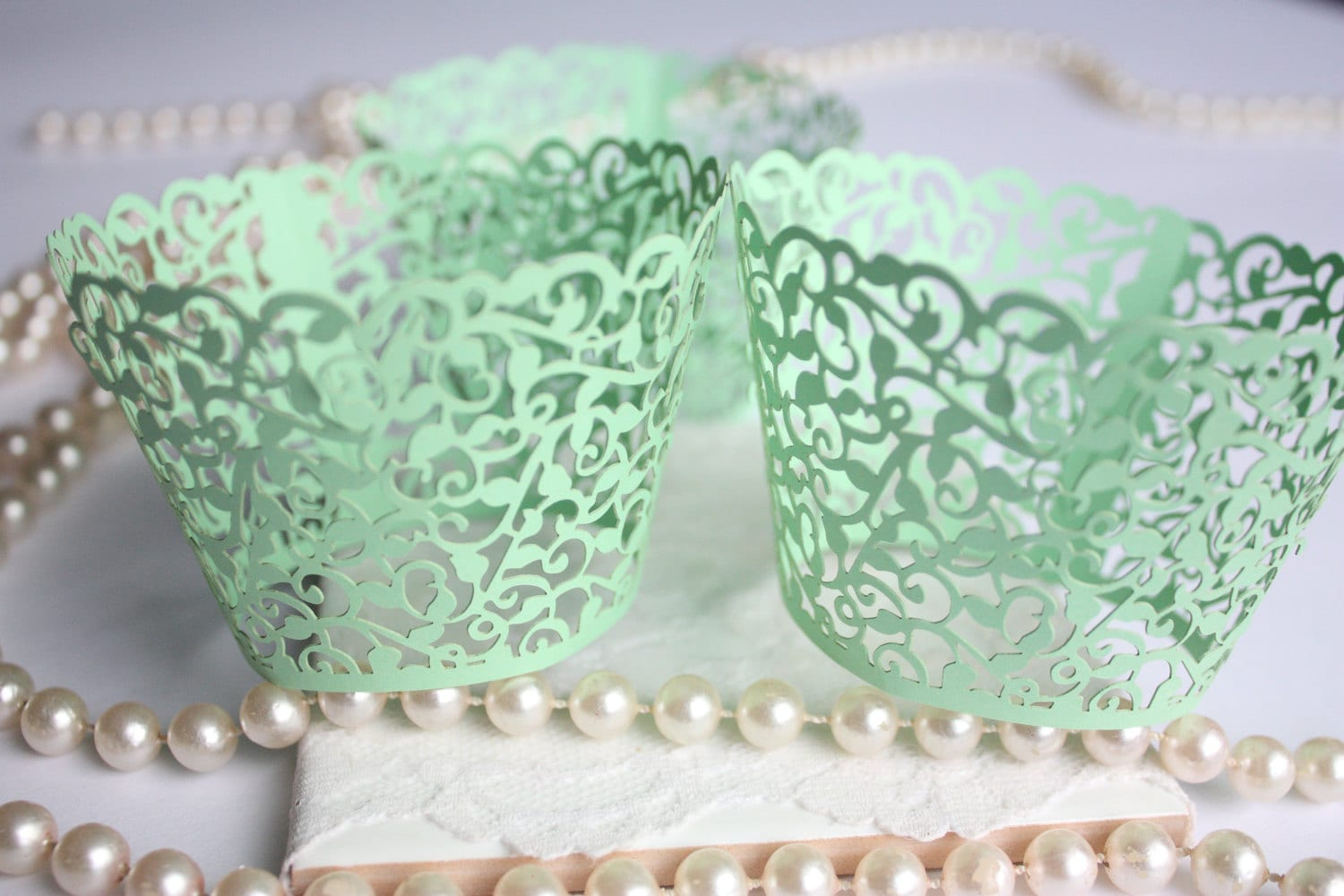 Mint Cupcake Wrappers For Mint Wedding Mint Green Lace Filigree
