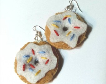 White Frosting Donut with Sprinkles Earrings