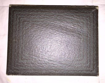 SALE Vintage Congress Playing Cards Box Antique Faux Leather Hinged Box