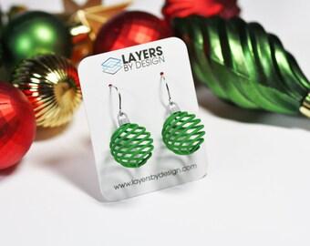 3D Printed Spiral Christmas Ornament Earrings