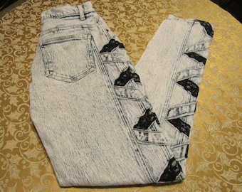 Awesome Authentic Acid Wash and Black Lace Stretch jeans - Size 10