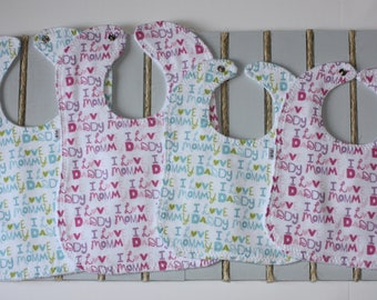 Custom Bibs/Colorful Baby Bib/Infant Washable Cotton Bib/Toddler Washable Cotton Bib/Handmade Bib/Wooden Teether/Custom Burp cloth