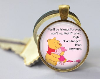 Friend Quote 2 Winnie The Pooh Inspired Glass Pendant, Photo Glass Necklace, Glass Keychain