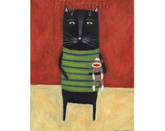 Whimsical Cat PRINT, Funny Cat Art, Sock Monkey Art, Black Cat Print, Cute Picture, Kids Decor, Quirky Wall Art, Happy Picture, Kitty