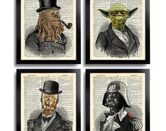 Star Wars Poster Set of 4 Prints Set, Office Wall Art Set of Prints Dictionary Art Print Set of 4 Prints Man Gift for Boyfriend Movie 547