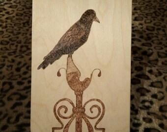 Cutting board for kitchen raven dark gothic wooden desk decorate gift