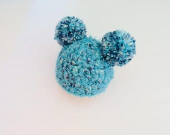 Pom Pom baby hat, chunky crochet baby hat, two Pom Pom hat, Pom Pom ears hat, textured baby chunky hat, 0-3 months, READY TO SHIP