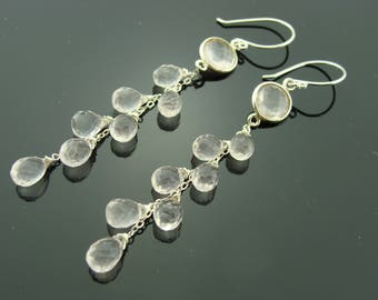 Rose Quartz 925 Sterling Silver Cascade Gemstone Earrings