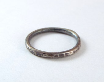 Antiqued Hammered Sterling Silver Stacking Ring